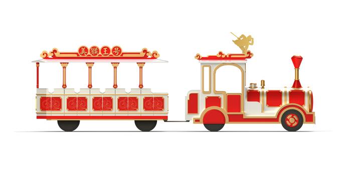 """小火车的造型设计,我们将书中""""仙界""""的景观:天宫,南天门,仙气霭霭的"""